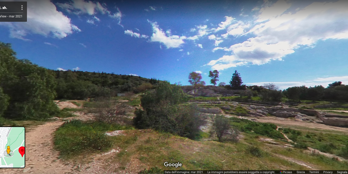 Accès à la colline de Philopappou en Google Street View, capture d'écran [5/10/2021]
